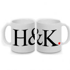 PERSONALISED LARGE INITIALS & HEART MUG